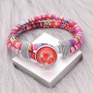 20MM red design snap Silver Plated with thread and Pearl KC2216