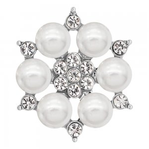20MM snap silver Plated with white Pearl and Rhinestone KC8252