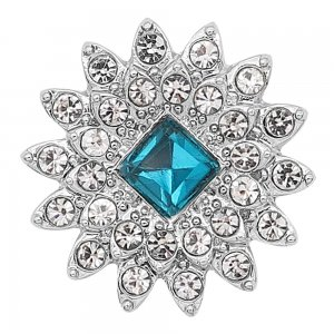 20MM snap silver Plated with Light blue Rhinestone KC8249