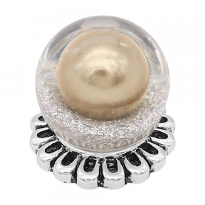 20MM Glossy Spherical opal snap Silver Plated with Golden Pearl KC8269