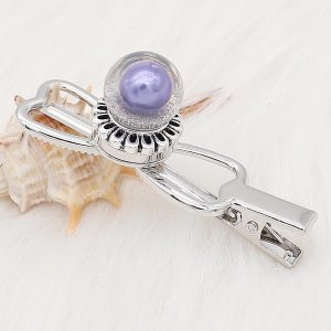 20MM Glossy Spherical opal snap Silver Plated with purple Pearl KC8273