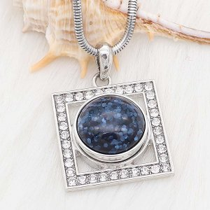20MM design snap Silver Plated blue Glittering resin KC2229