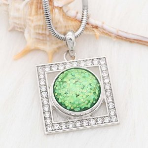 20MM design snap Silver Plated green Glittering resin KC2230