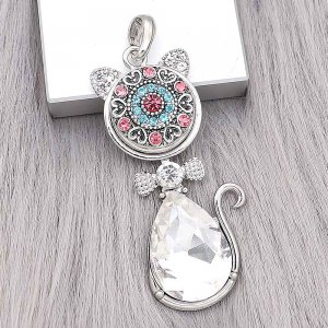 snap sliver Pendant with Rhinestone fit 20MM snaps style jewelry KD0302