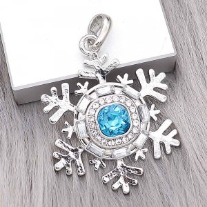 20MM design snap Silver Plated with blue Rhinestone charms KC9373 snaps jewerly