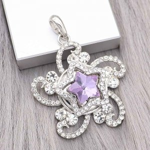 20MM star snap Silver Plated with purple Rhinestone charms KC9384 snaps jewerly