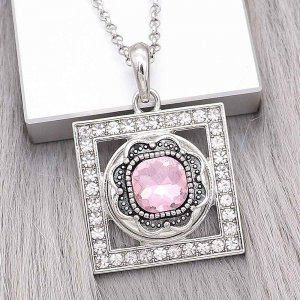 20MM design snap Silver Plated with pink Rhinestone charms KC9377 snaps jewerly