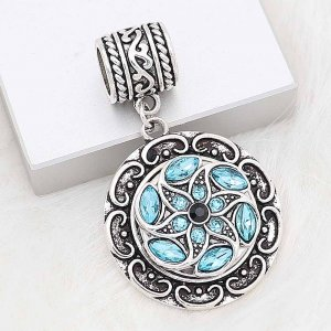 20MM snap silver Plated with blue Rhinestone KC8283