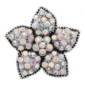 20MM Starfish snap Silver Plated with Mulitcolor Rhinestone charms KC9417