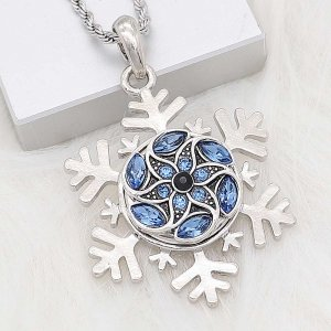 20MM snap silver Plated with blue Rhinestone KC8285