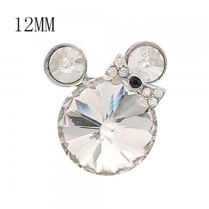 12MM Cartoon snap Silver Plated with white Rhinestone charms KS7182-S