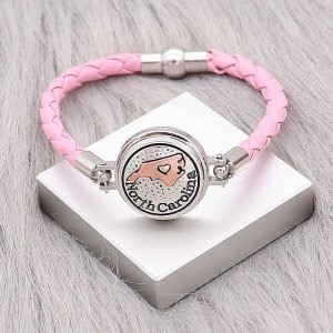 Pink Leather Snap bracelets KC0538  fit 20mm snaps chunks 1 button