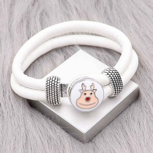White Leather Snap bracelets KC0543  fit 20mm snaps chunks 1 button