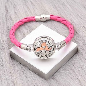 Rose  Leather Snap bracelets KC0533  fit 20mm snaps chunks 1 button