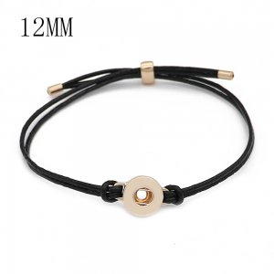 Bracelets Snap en cuir noir KS1307-S fit 12 mm snaps chunks 1 bouton