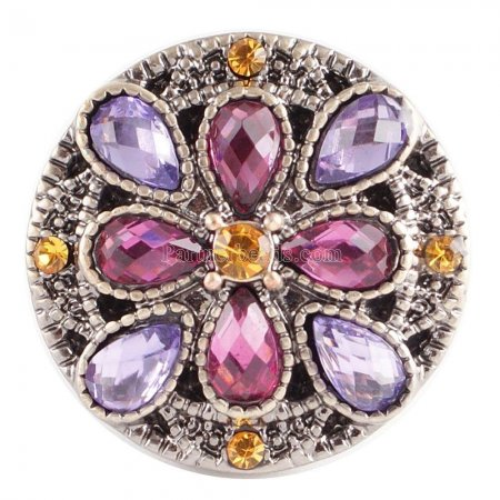 20MM Flower round snap Antique copper plated KC5027 with Purple Rhinestone interchangeable snaps jewelry
