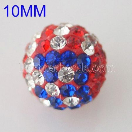 10*10mm American Flag Rhinestone beads