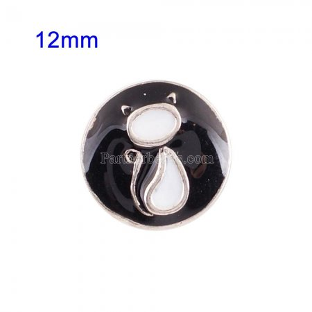 12mm Small size snaps with black enamel for chunks jewelry