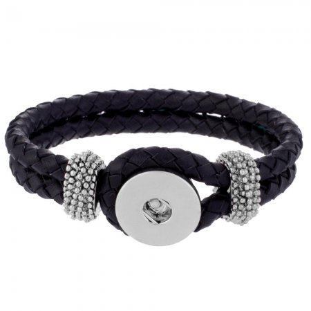 23CM Black real leather bracelets fit snaps chunks