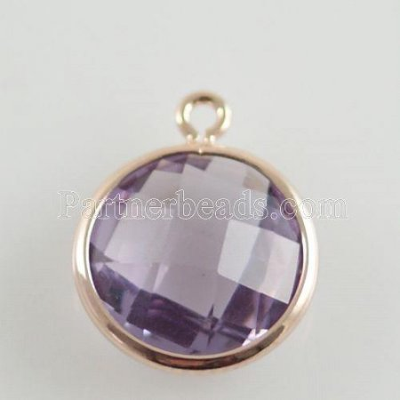Glass crystal dangle Charms dia 12mm color012