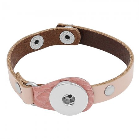 1 buttons Pink Genuine leather KC0274 type bracelets fit 20MM snaps chunks