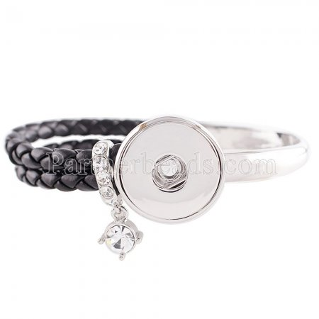 Black real leather and alloy with rhinestone KC0605 new type bracelets fit 20mm snaps chunks