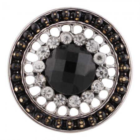 20MM design snap button Antique Silver Plated with black Rhinestone KC9730 snap jewelry