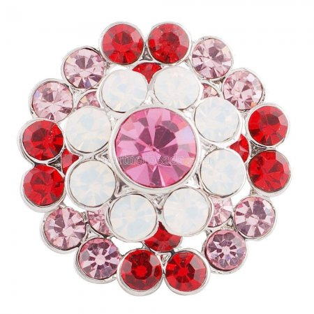 20MM Flower snap silver plated KC5015  with Gradient pink Rhinestones interchangeable snaps jewelry