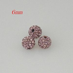 6*6mm light rose red Rhinestone beads