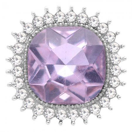 20MM design snap Silver Plated with purple rhinestone KC6774 snaps jewelry