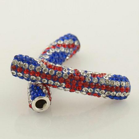 50mm Alloy Tube Beads mit Strass-UK Flagge