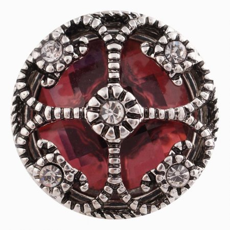20MM design snap Silver Plated with red Rhinestones KC6417 snaps jewelry