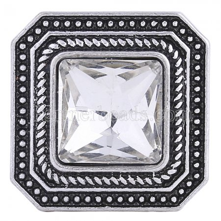 20MM Square snap Silver Plated with white rhinestone KC6198 snaps jewelry