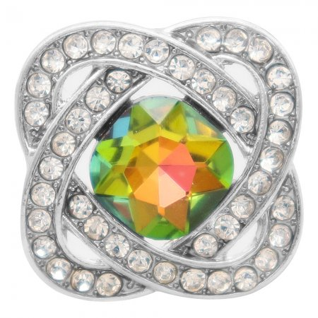 20MM design snap silver Plated with Colorful rhinestone KC6958 snaps jewelry