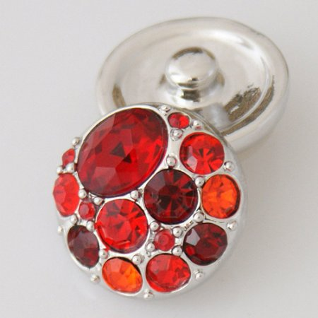 20MM Round snap Antique Silver Plated with red  rhinestone KB5002 snaps jewelry