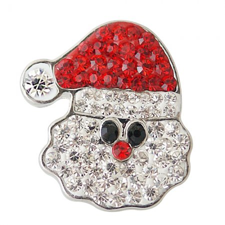 Christmas snaps button 20mm with rhineston