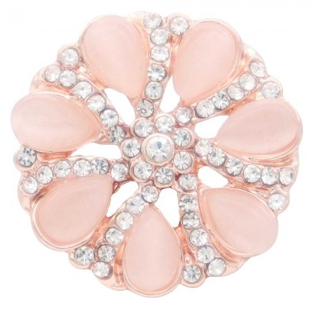 20MM  flower snap rose gold Plated with pink rhinestone KC7893 snaps jewelry