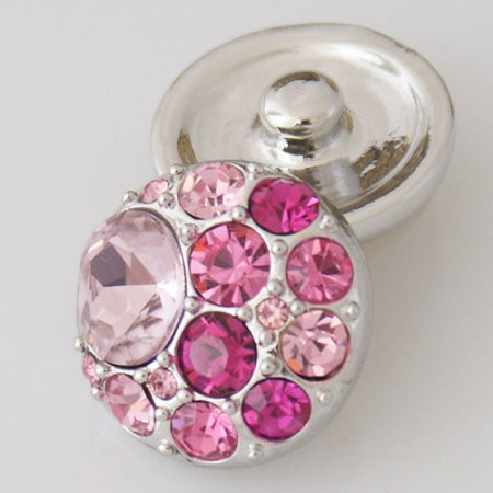 20MM Round snap Antique Silver Plated with pink rhinestone KB5006 rose-red