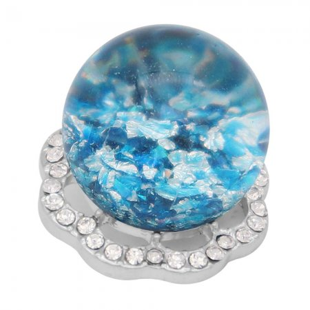 25MM Glossy Spherical opal cyan Amber snap Silver Plated with Rhinestone KC7970 snaps jewelry