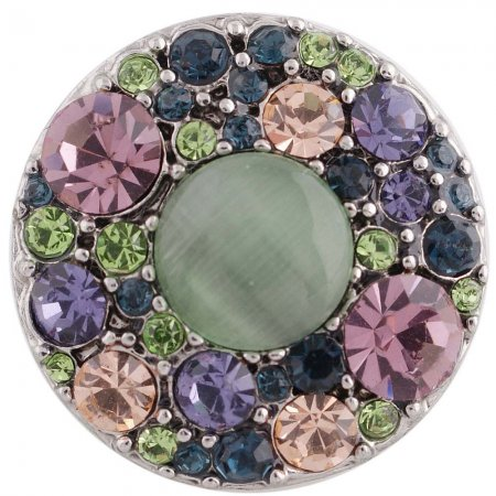 20MM round snap Antique silver plated with rhinestones and green opal KC5365 snaps jewelry