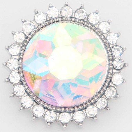 20MM design snap Silver Plated with rhinestone KC6870 multicolor