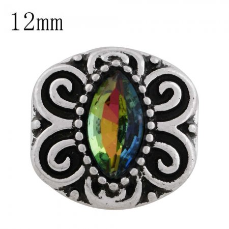 12MM design snap sliver plated with colorful Rhinestone and Enamel KS6252-S interchangeable snaps jewelry