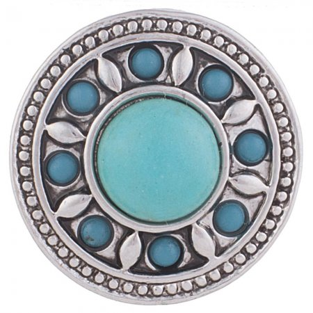 20MM Round snap Antique Silver Plated with cyan Turquoise stone KB5221