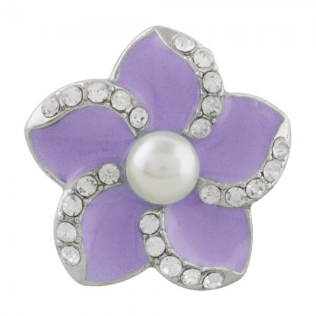 20MM flower snap sliver Plated with pearl and purple enamel KC9888 snaps jewelry