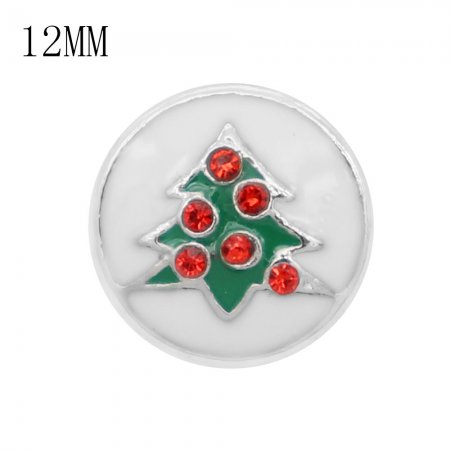 Christmas 12MM design Christmas tree with red rhinestone and white green enamel  KS7061-S snaps jewelry