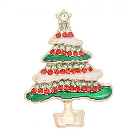 Christmas 20MM design Christmas tree with White   red and green rhinestone enamel KC8035 snaps jewelry