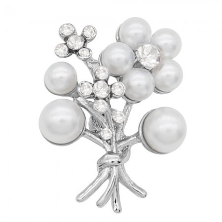 Flowers 20MM pearl snap Plated with White rhinestone and pearl KC8066 snaps Charms