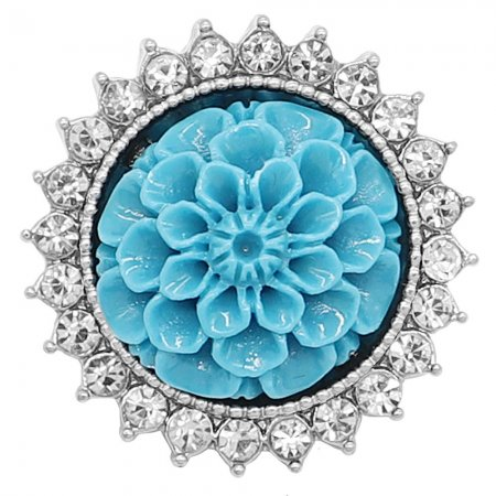 20MM Flowers snap silver Plated with rhinestone and blue resin KC9236 charms snaps jewelry