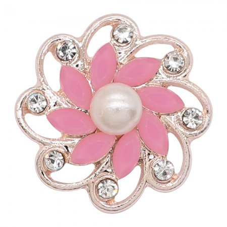 20MM flowers snap Rose Gold Plated with Pink rhinestone And pearls KC9267 charms snaps jewelry