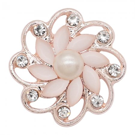 20MM flowers snap Rose Gold Plated with White rhinestone And pearls KC9263 charms snaps jewelry